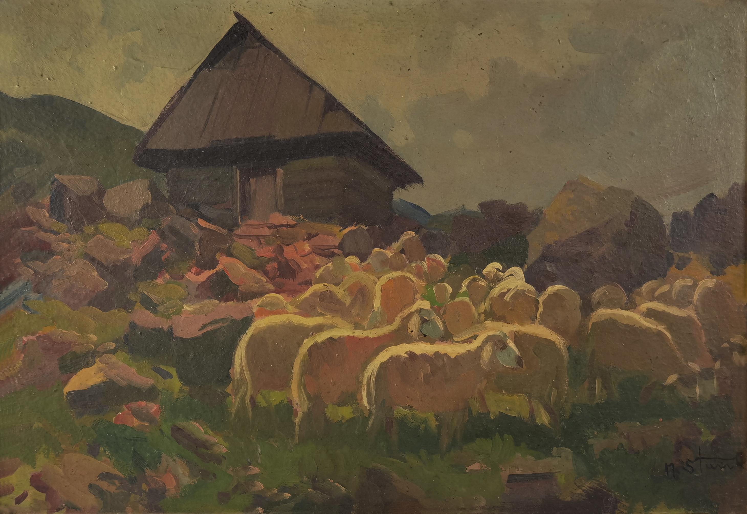 Owce i bacówka