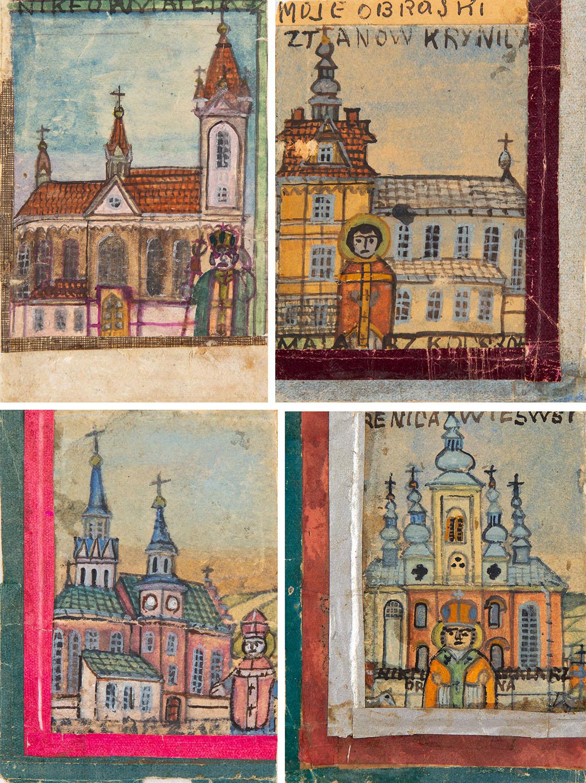 Zestaw czterech rysunków z listów żebraczych z przedstawieniami postaci świętych i biskupów przed kościołami w Krynicy