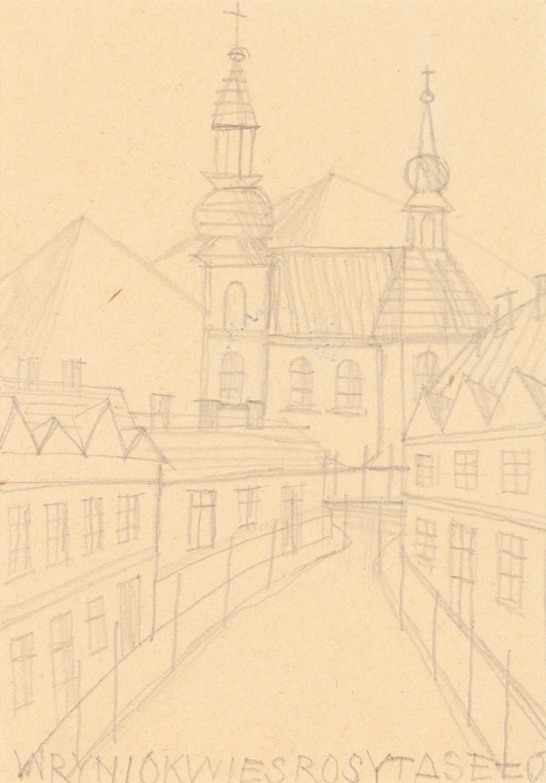 Widok na rynek miejski z kościołem