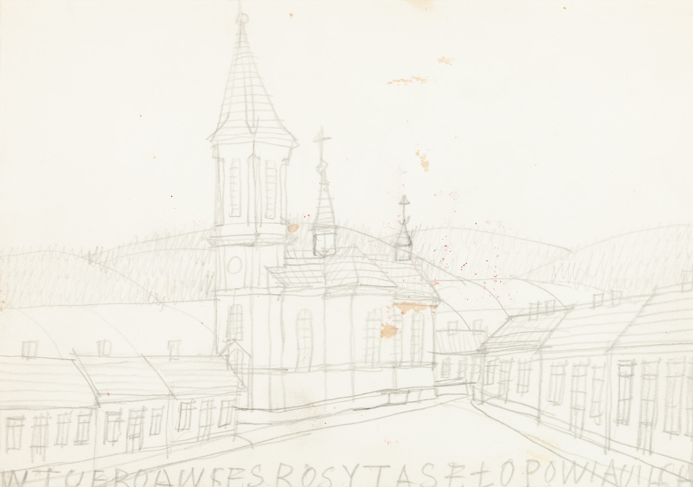 Widok z miasteczka z kościołem