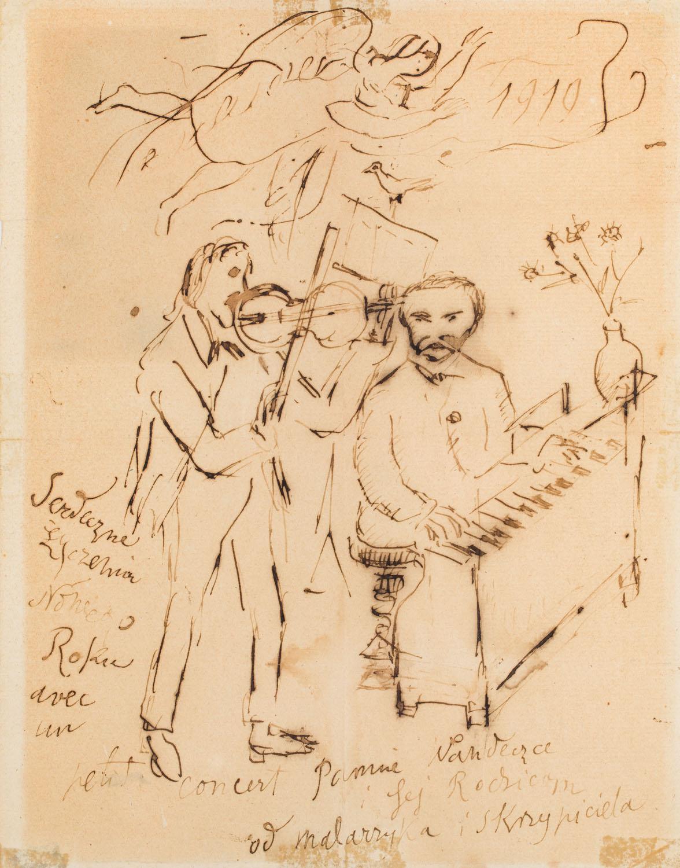 """Kartka z życzeniami noworocznymi (""""Mały koncert""""), 1919"""