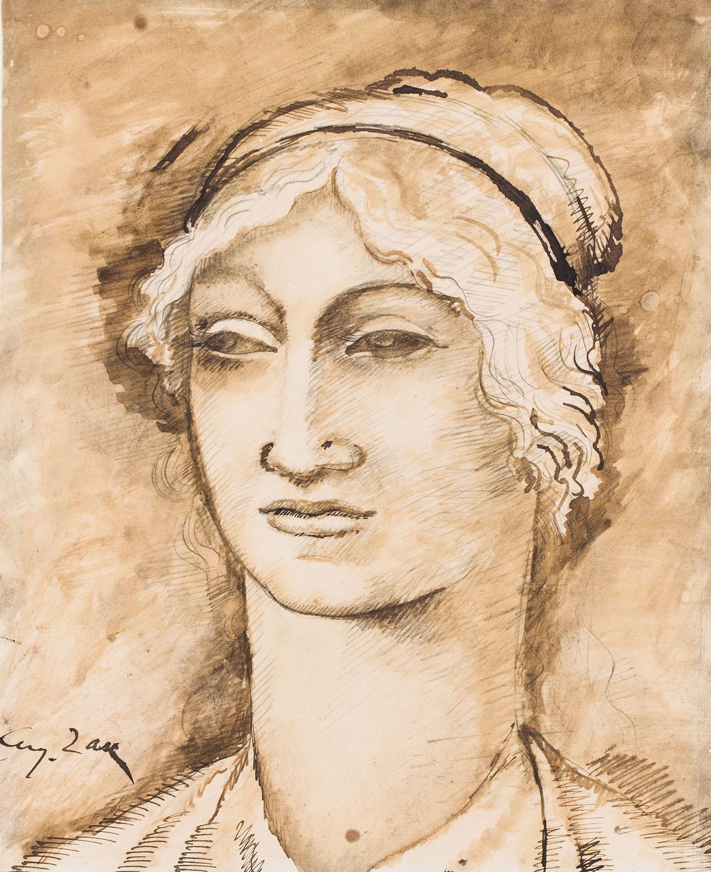Kobieta z przymrużonymi oczami, około1912