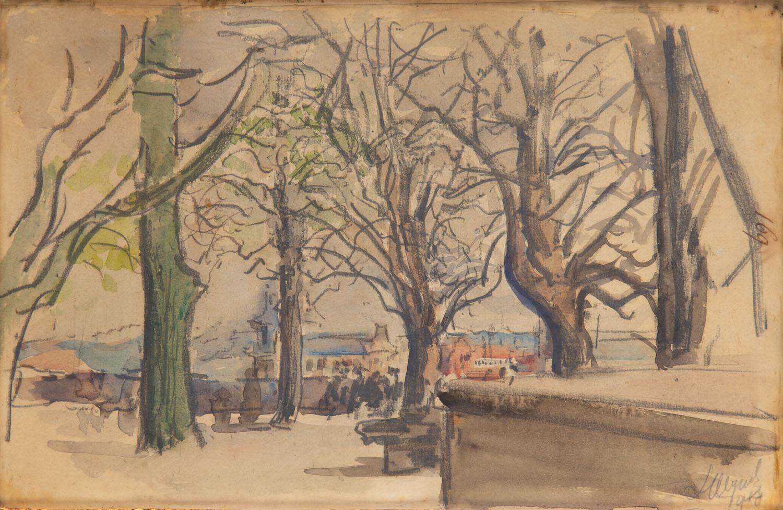 Krajobraz z widokiem na kościół Paulinów na Skałce w Krakowie, 1918