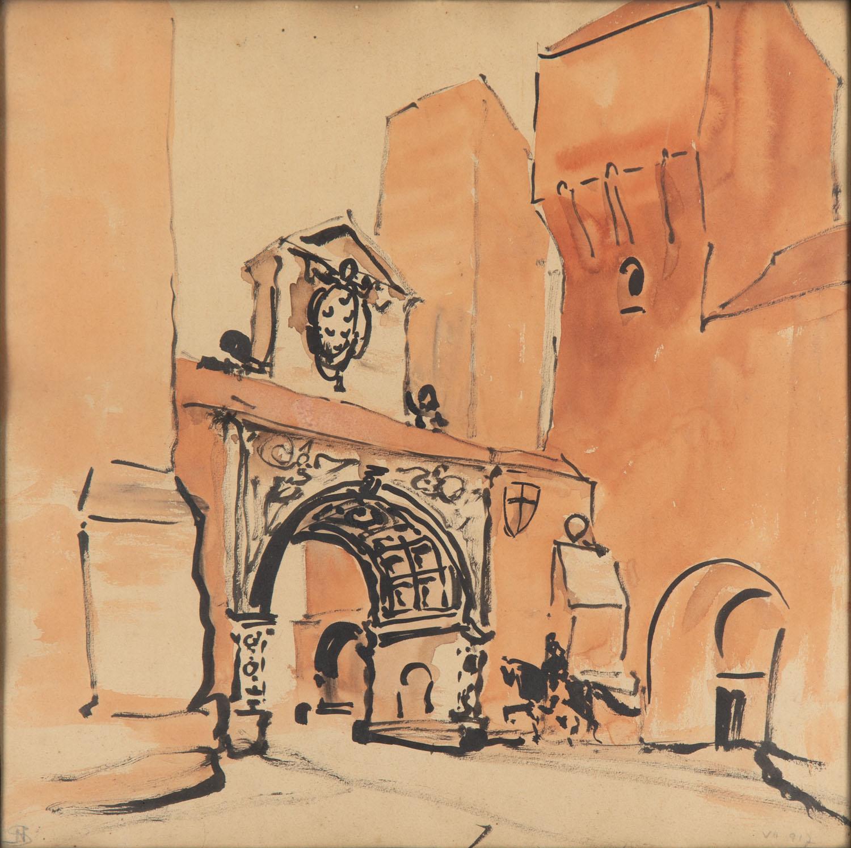 Mury miejskie z barokową bramą, 1917