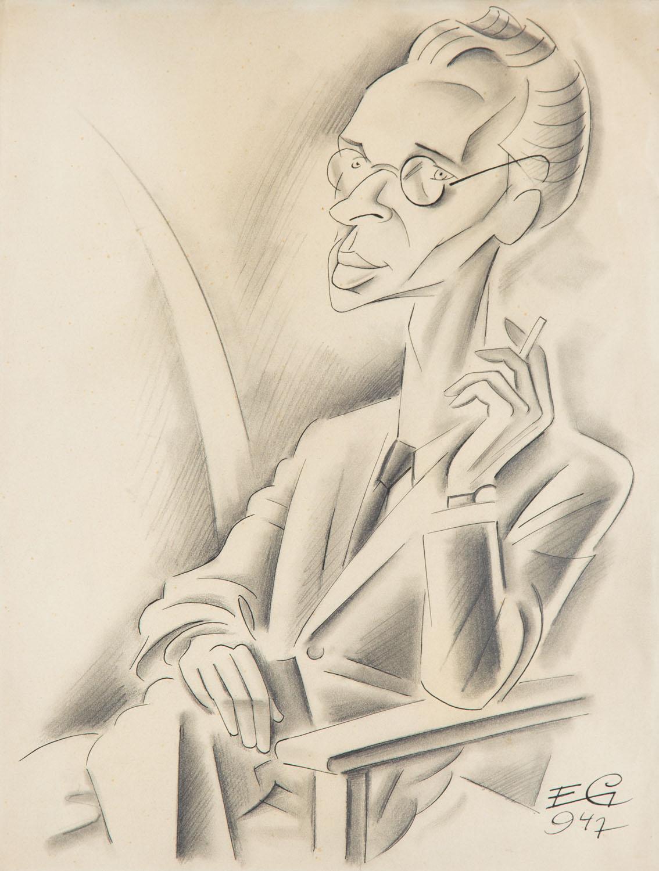 Karykatura pisarza Jerzego Andrzejewskiego, 1947