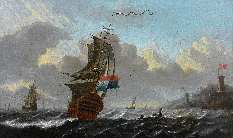 Holenderskie żaglowce przy duńskim nabrzeżu