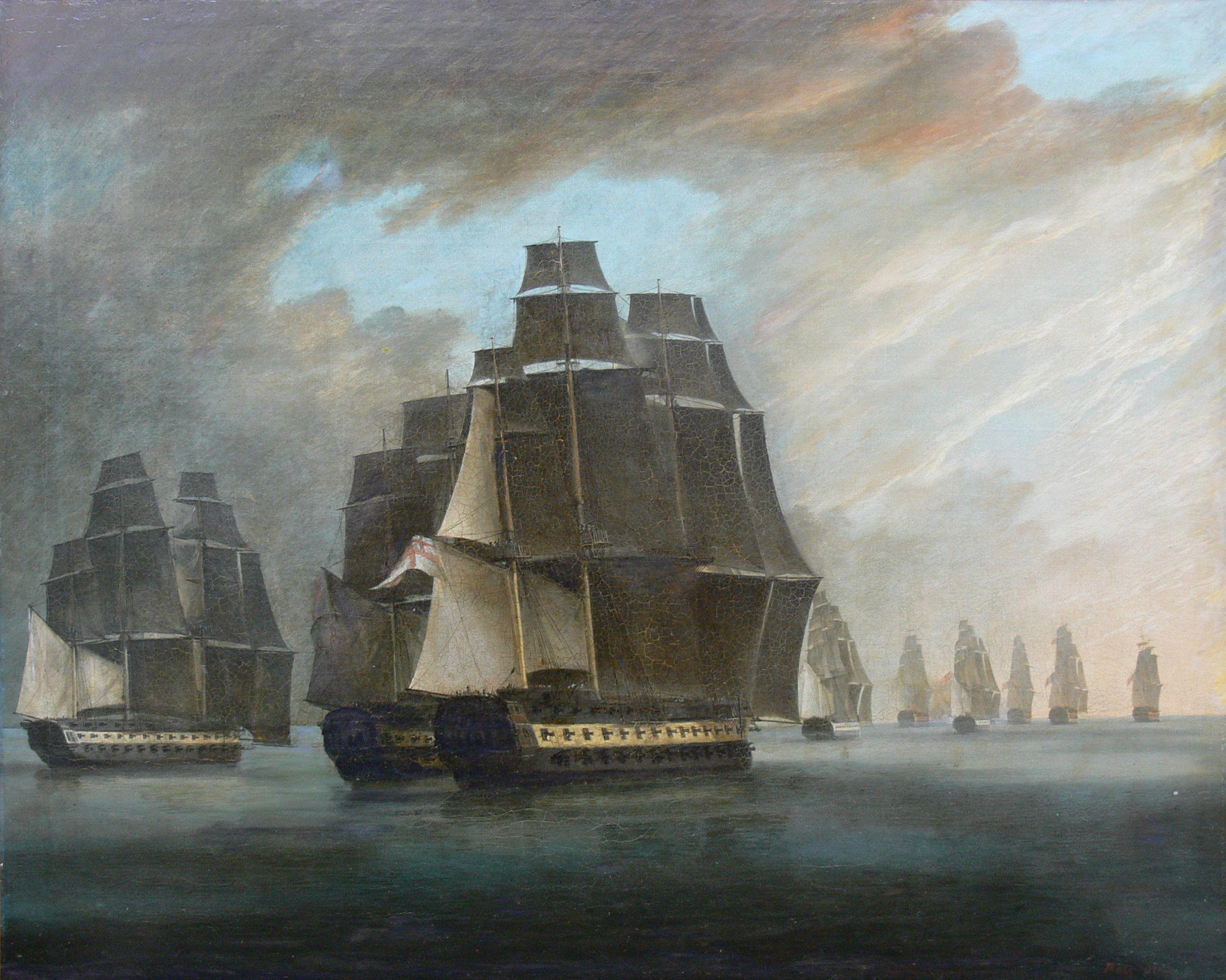Żaglowce bojowe na morzu