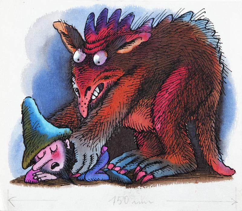 """""""Hubert w wielkim kapeluszu"""". Nocna mara Füssliego poddusza Huberta, ilustracja do książki Otfrieda Preussler'a, 1986"""