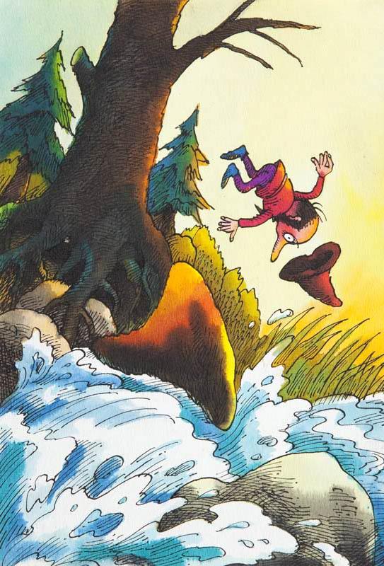 """""""Hubert w wielkim kapeluszu"""", ilustracja do książki Otfrieda Preussler'a, 1986"""