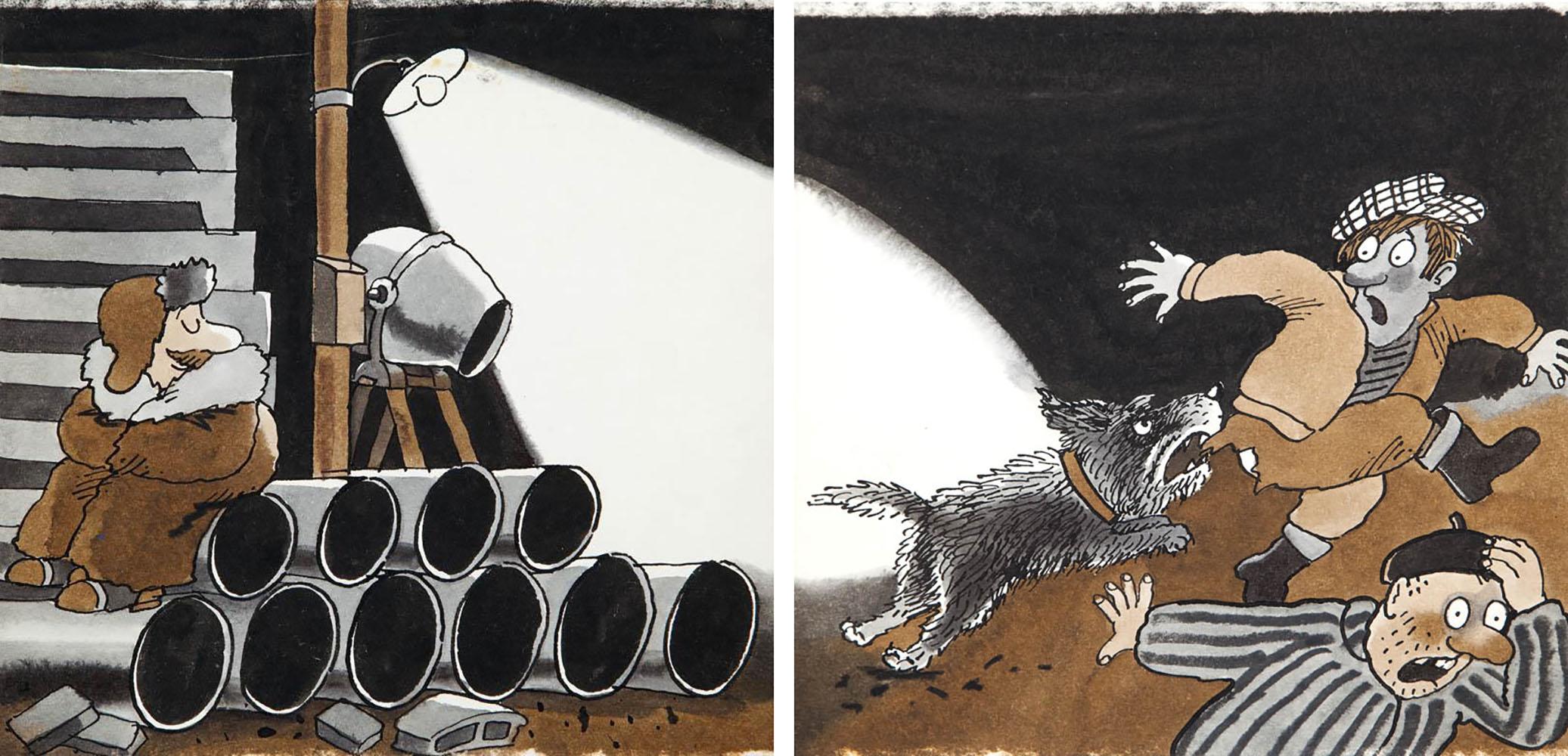 """""""Bardzo zajęte psy"""", projekt ilustracji do książki Ryszarda Marka Grońskiego, str. 10-11, 1986"""
