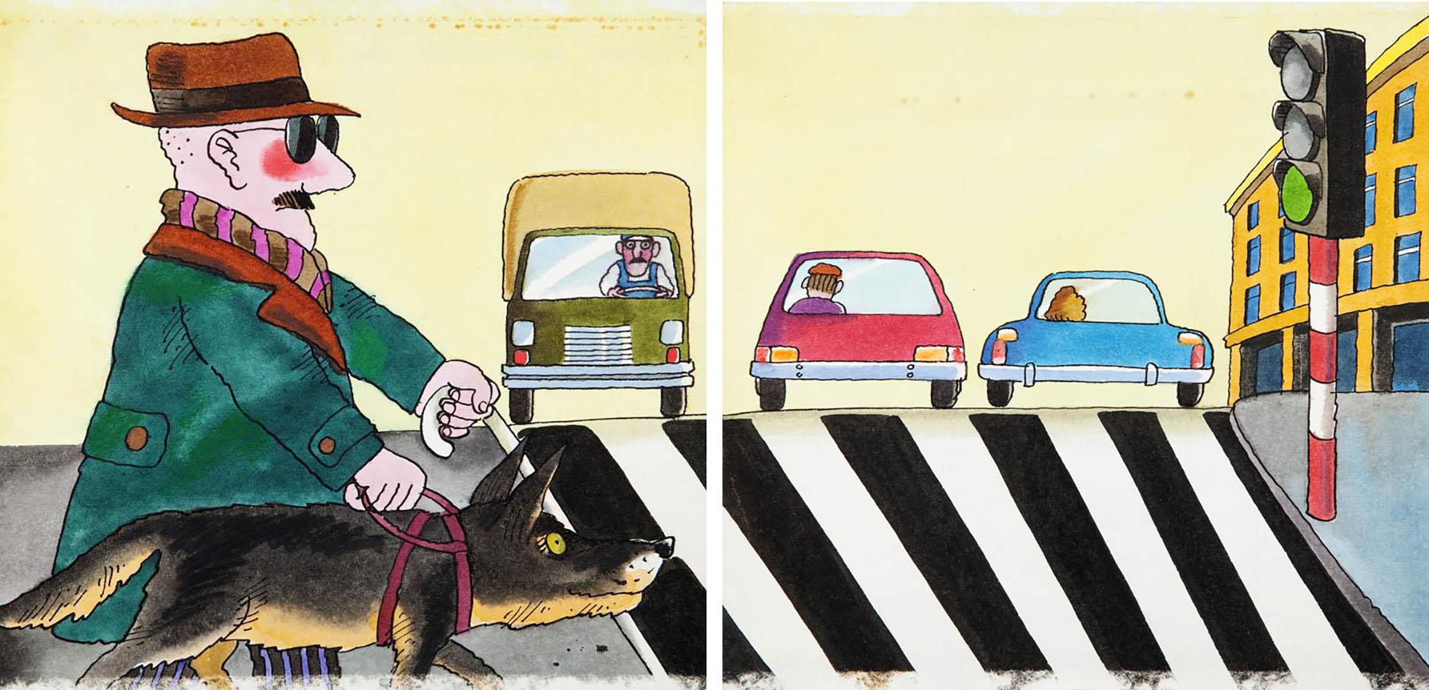 """""""Bardzo zajęte psy"""", projekt ilustracji do książki Ryszarda Marka Grońskiego, str. 8-9, 1986"""