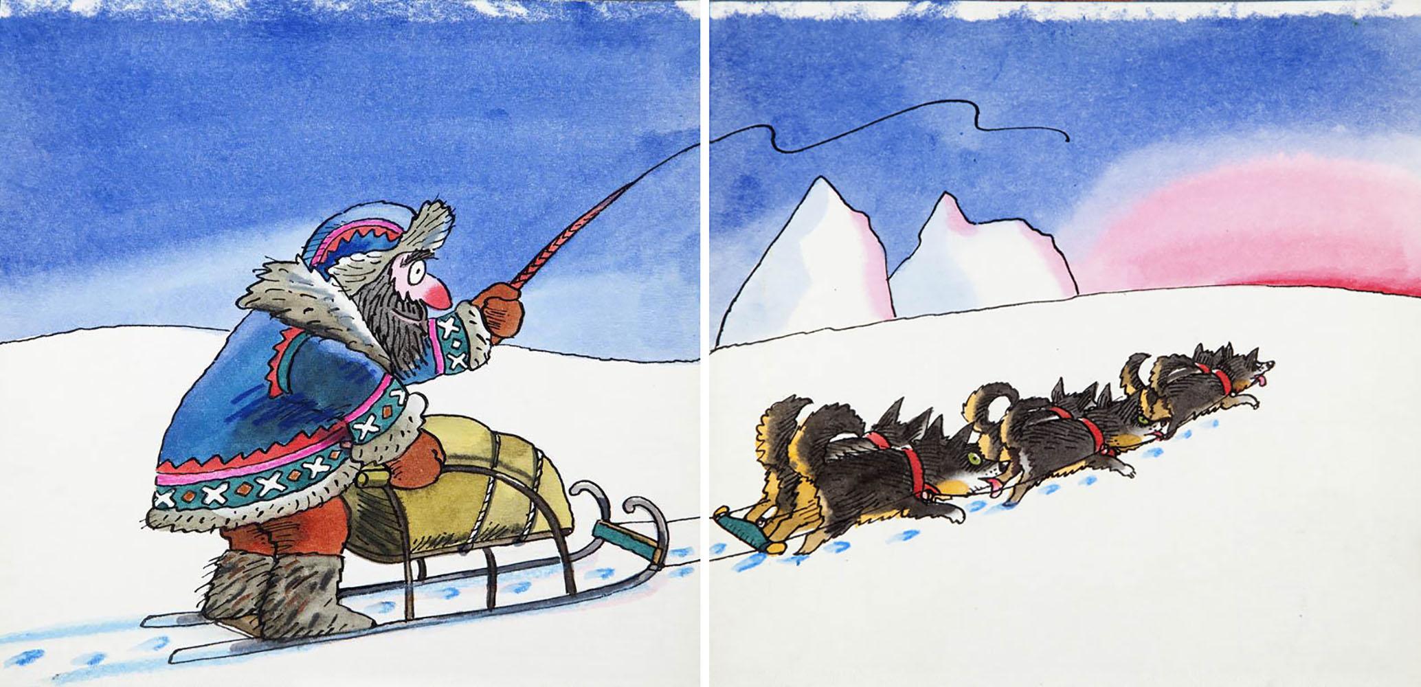 """""""Bardzo zajęte psy"""", projekt ilustracji do książki Ryszarda Marka Grońskiego, str. 20-21, 1986"""