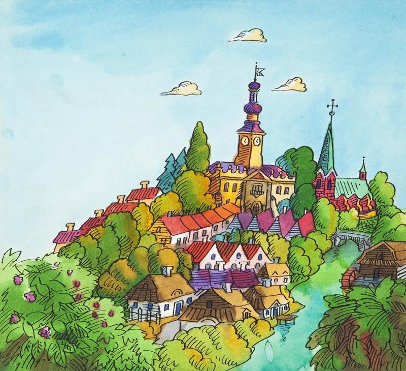"""""""Przygody jeża spod miasta Zgierza"""", ilustracja do książki Wandy Chotomskiej, Panorama zgierska, str. 5, 1984"""