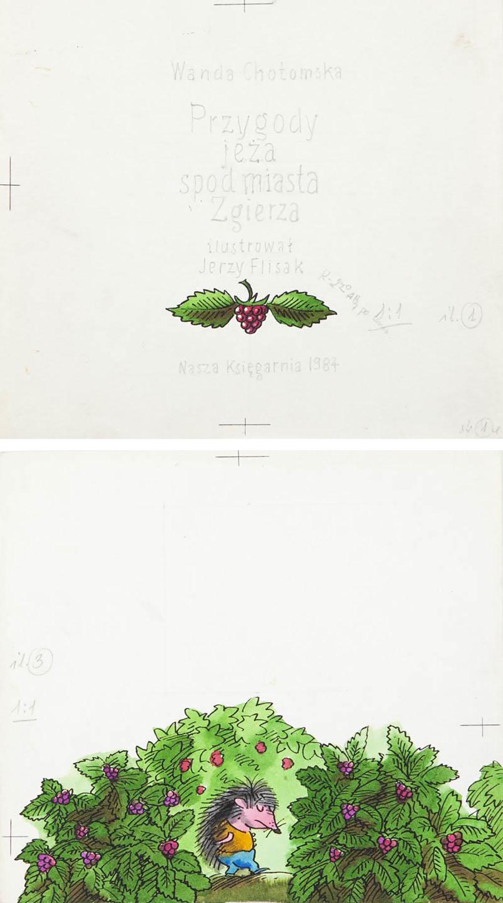 """""""Przygody jeża spod miasta Zgierza"""", ilustracja do książki Wandy Chotomskiej, str. 4, 1984"""