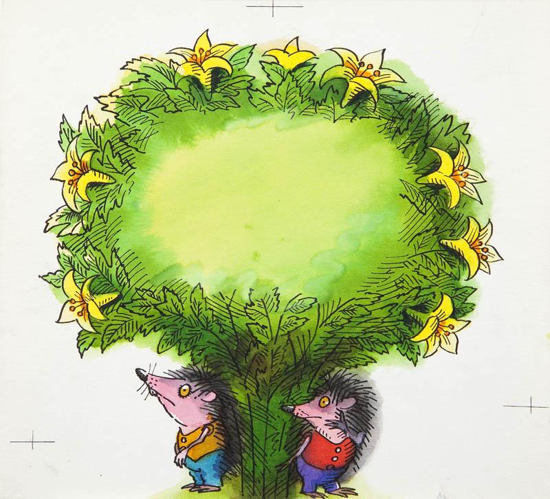 """""""Przygoda Jeża spod miasta Zgierza"""", ilustracja do książki Wandy Chotomskiej, dwa jeże pod kwiatodrzewem, p. 25, 1984"""