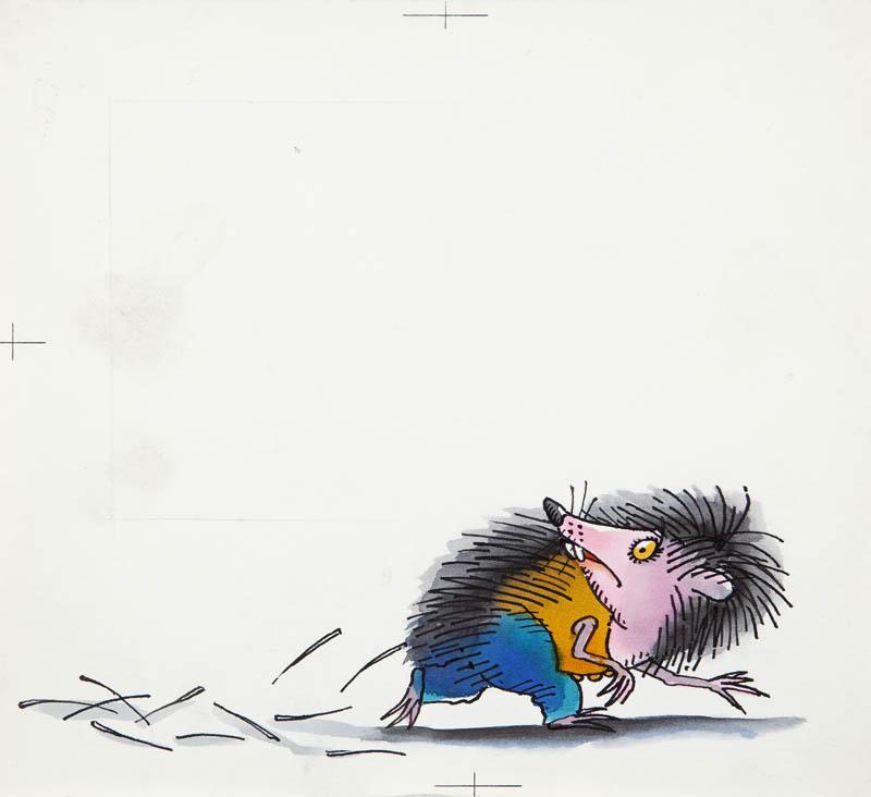 """""""Przygody jeża spod miasta Zgierza"""", ilustracja do książki Wandy Chotomskiej, Jeż gubi kolce, str. 21, 1984"""