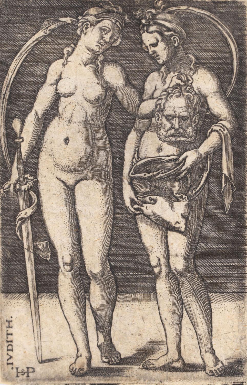 Judyta z głową Holofernesa (i służącą), około1525