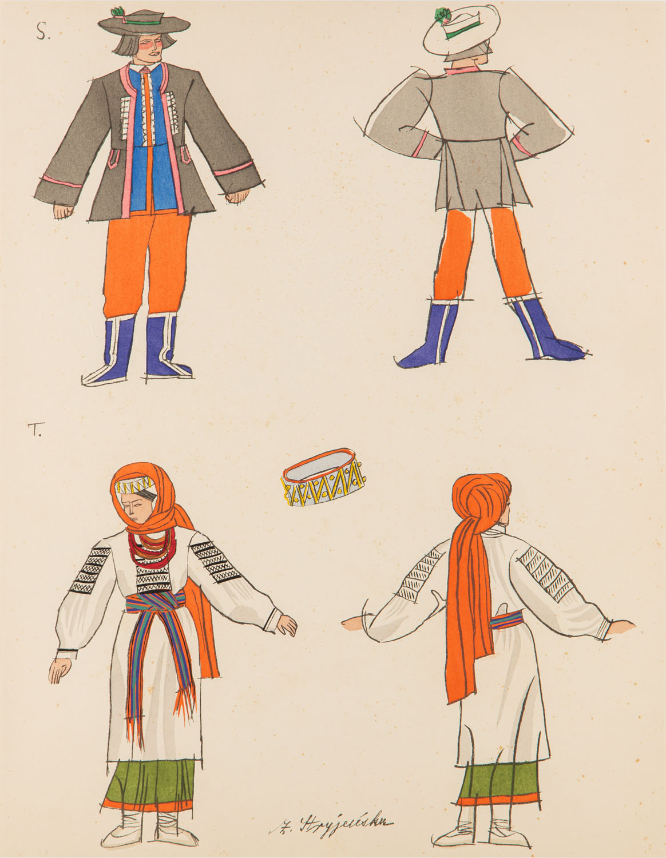 Stroje ludowe ze Lwowa i z okolic Kosowa (strój niedzielny męski i strój kobiecy), plansza XII z teki 'Polish Peasants' Costumes'