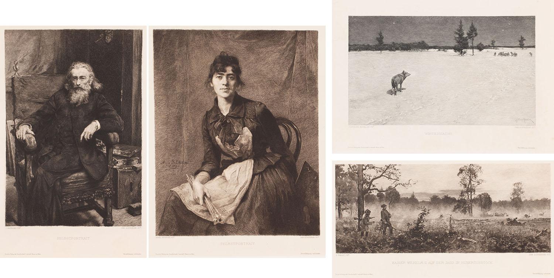 """4 ryciny do artykułu Wilhelma Schöllermanna """"Polnische Radierungen nach Polnischen Meistern"""", 1897"""