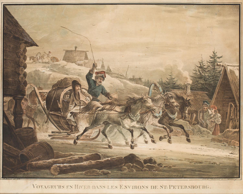 Podróż zimą w okolicach Petersburga, około1827