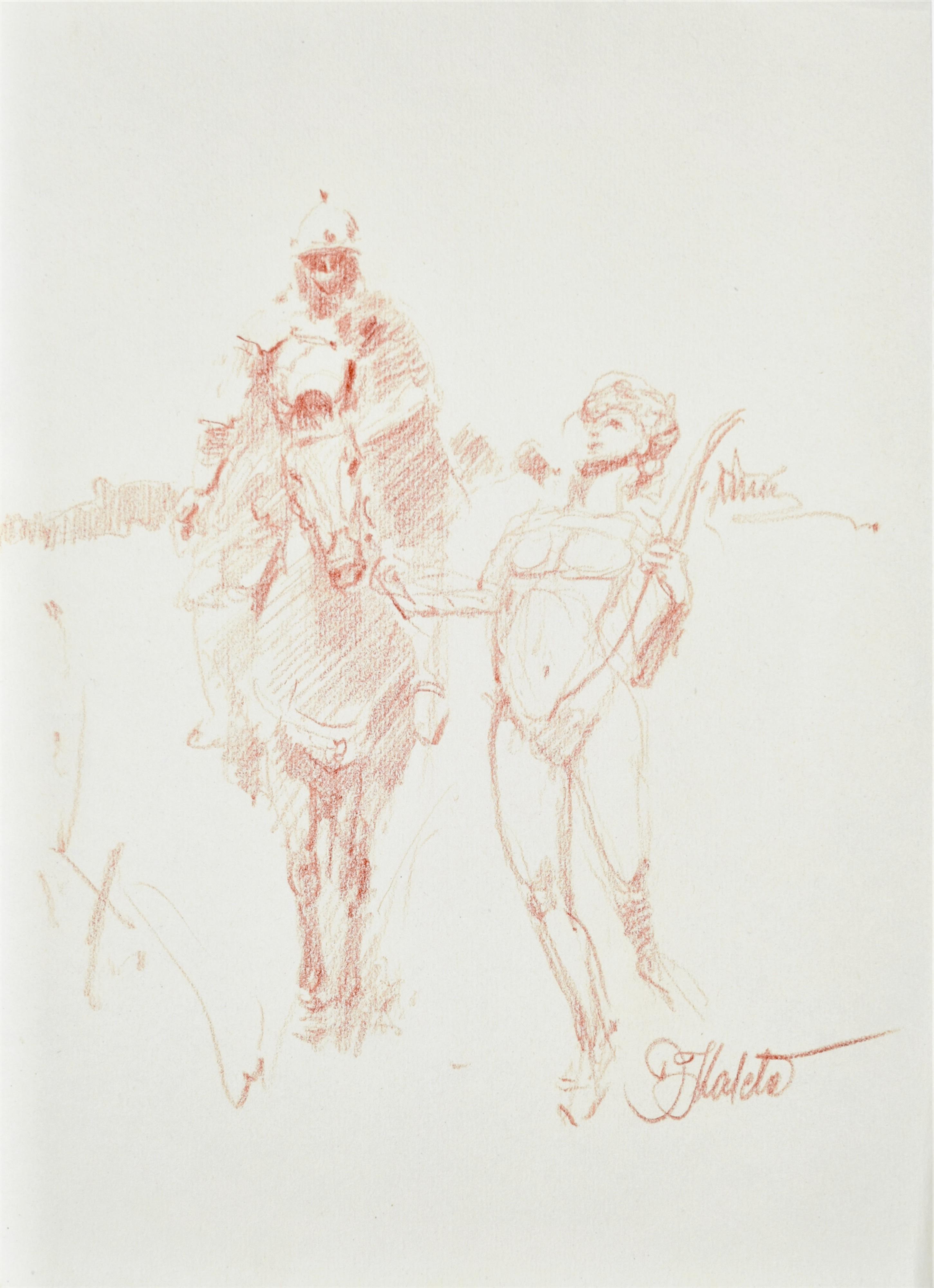 Szkic mężczyzny na koniu oraz fauna