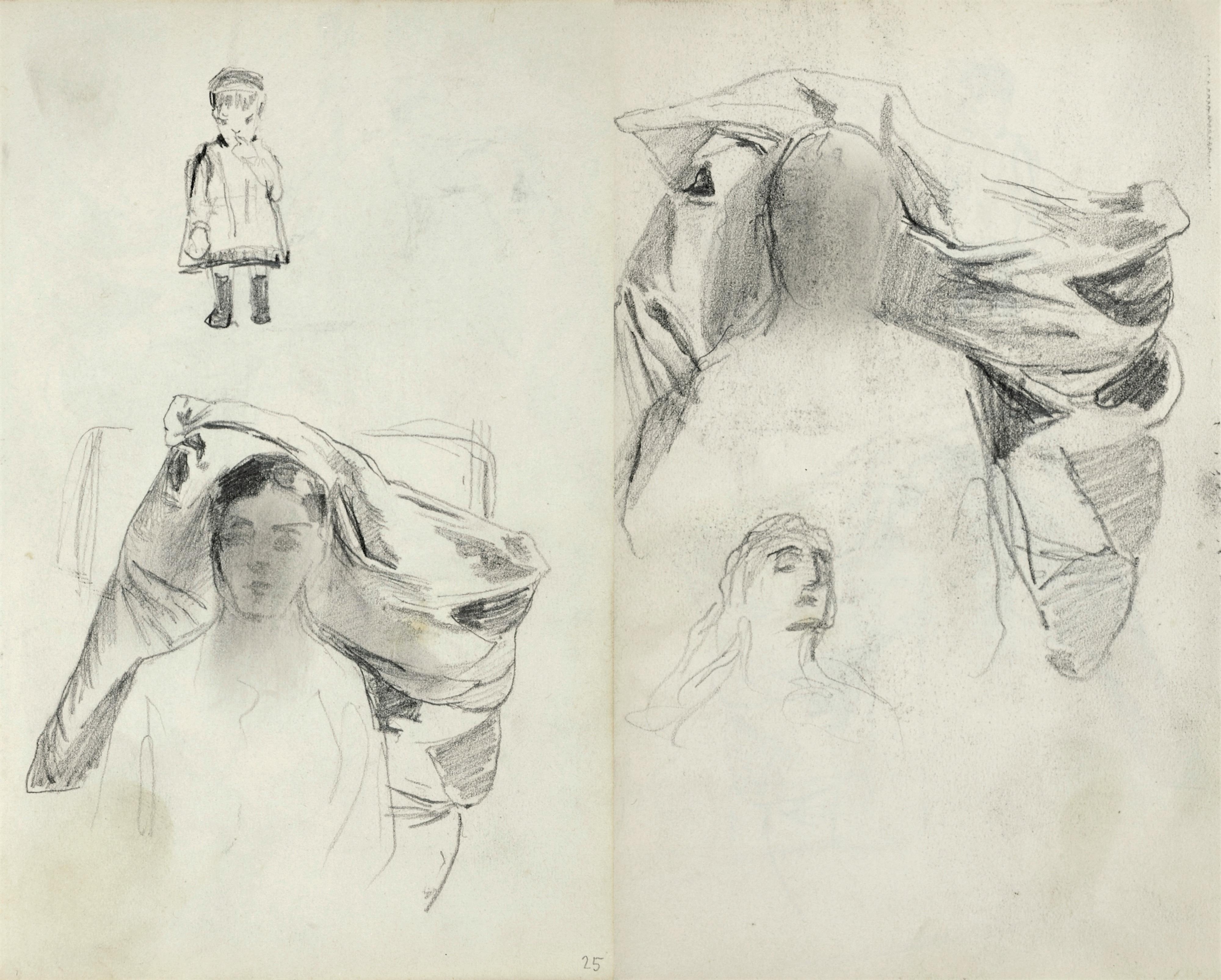 Szkice popiersia młodej kobiety oraz małego dziecka