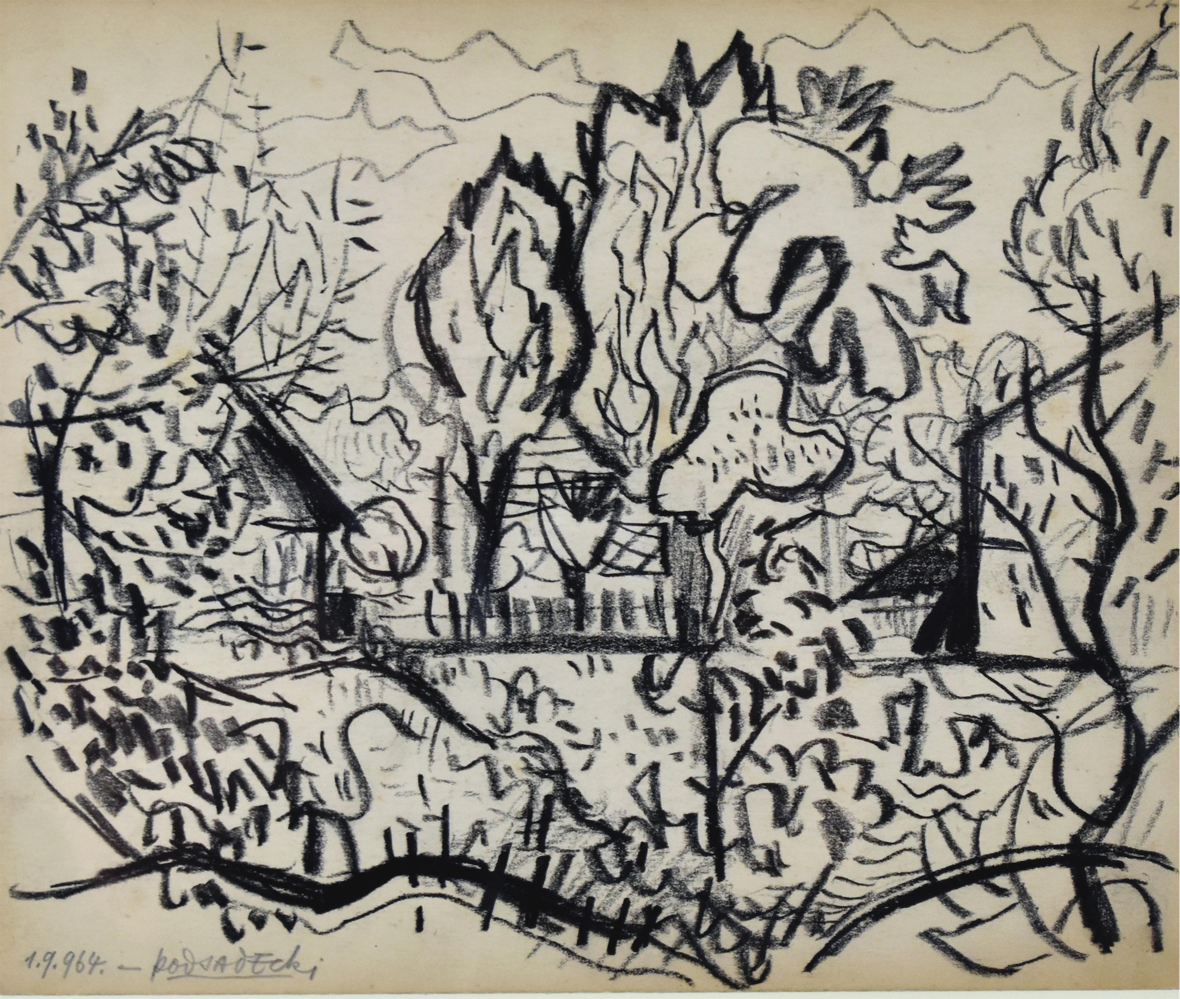 Pejzaż z drzewami - Park, 1964