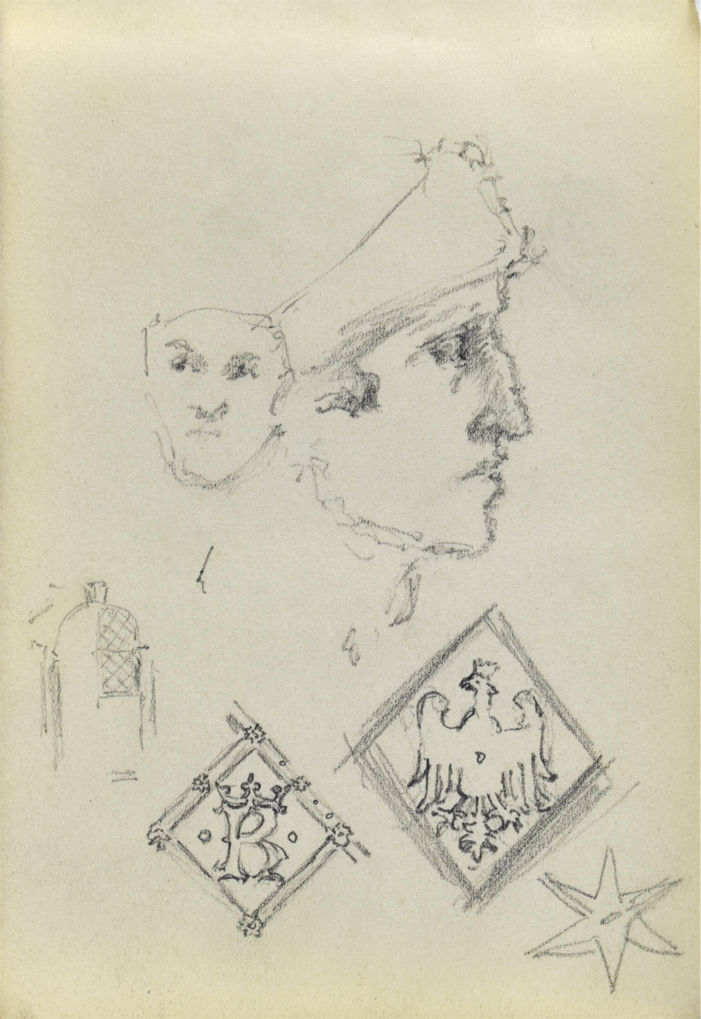 Szkice głowy w ujęciu en face i w ujęciu z profilu oraz szkic drzwi do katedry na Wawelu wraz z motywami