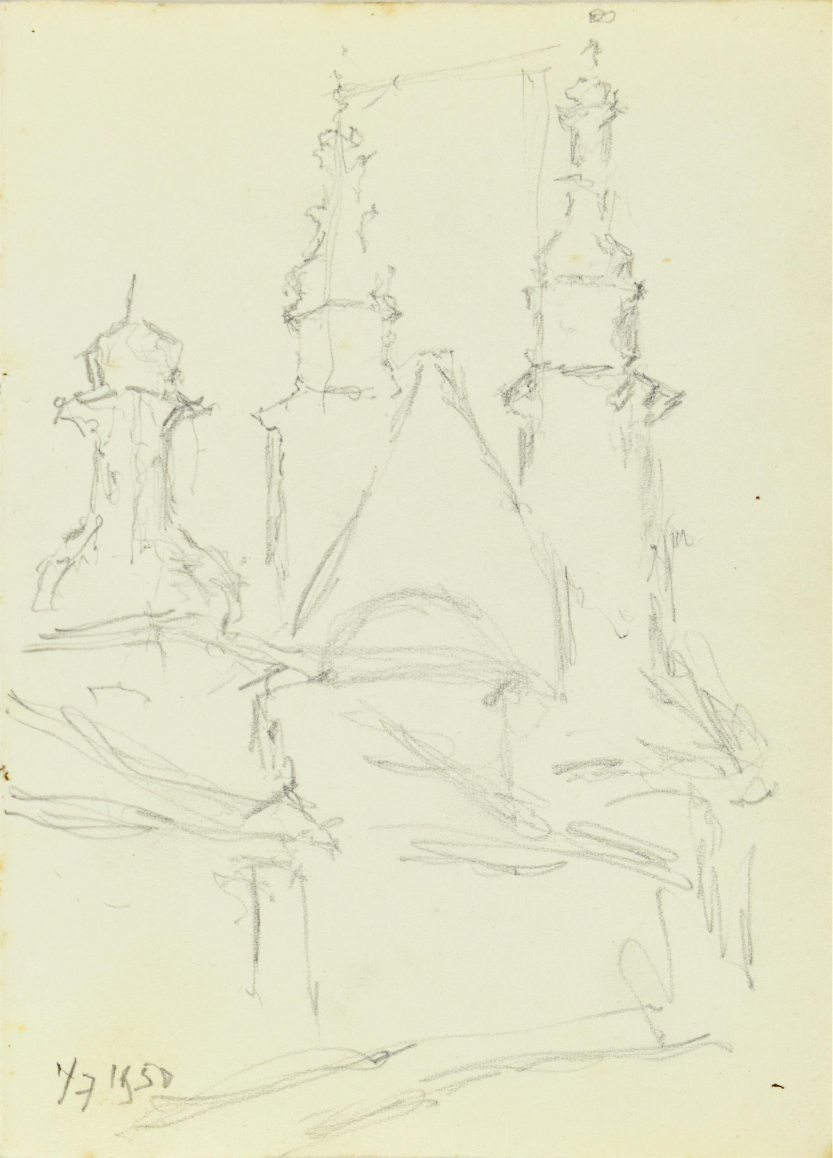 Kościół św. Andrzeja w Krakowie, widok od wschodu, 1950