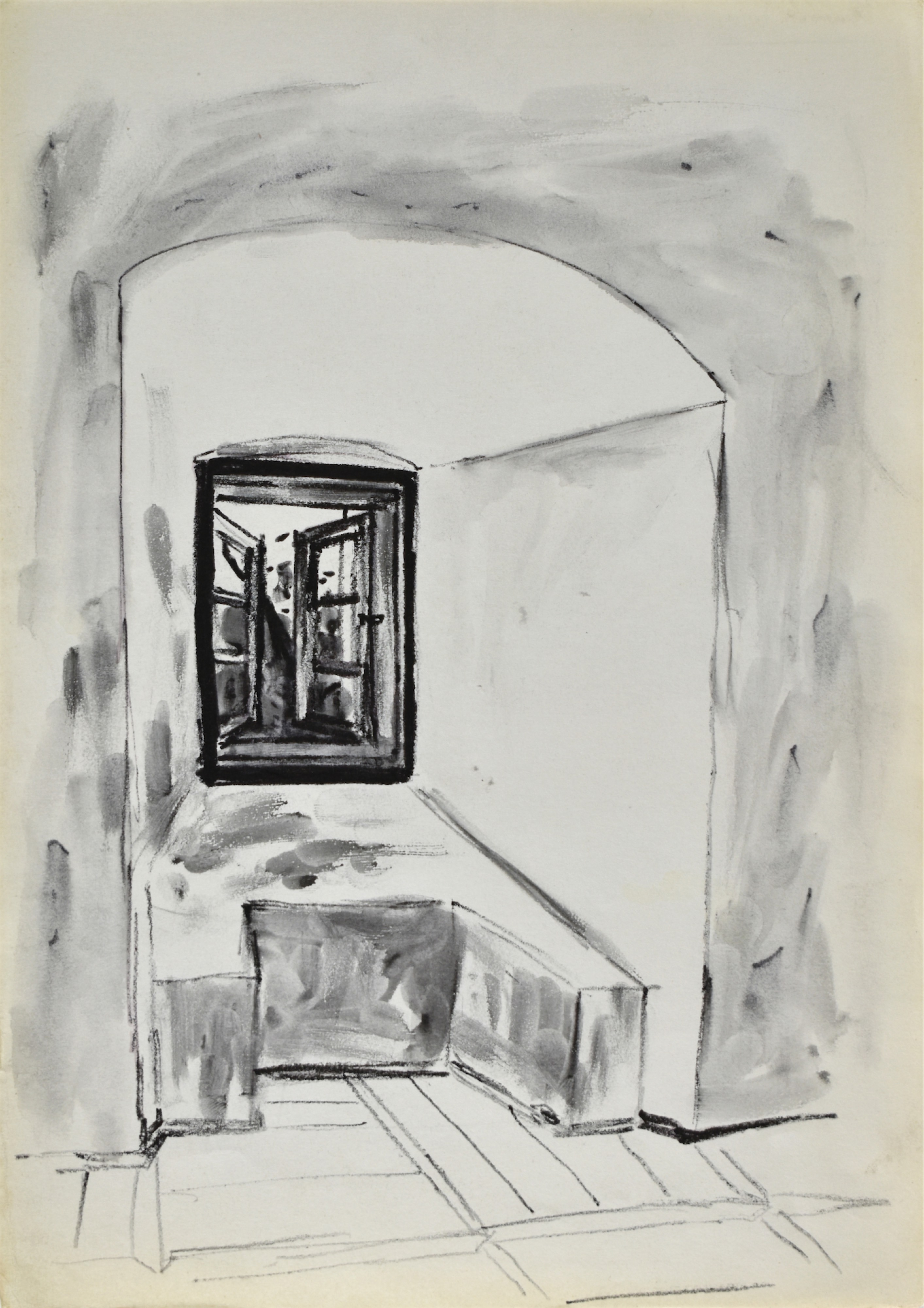 Szkic fragmentu wnętrza z wnęką okienną