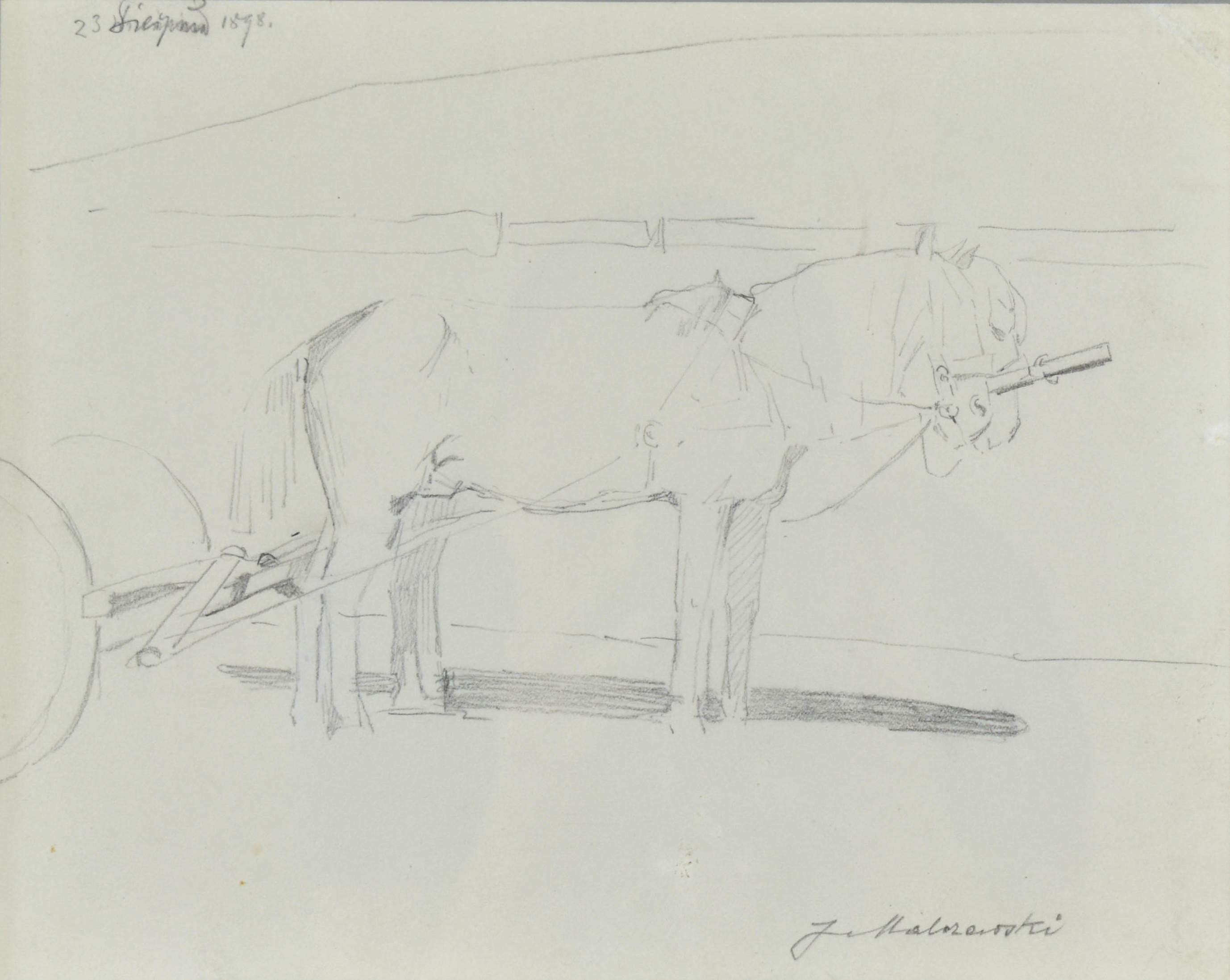 Szkic koni w zaprzęgu, 1898