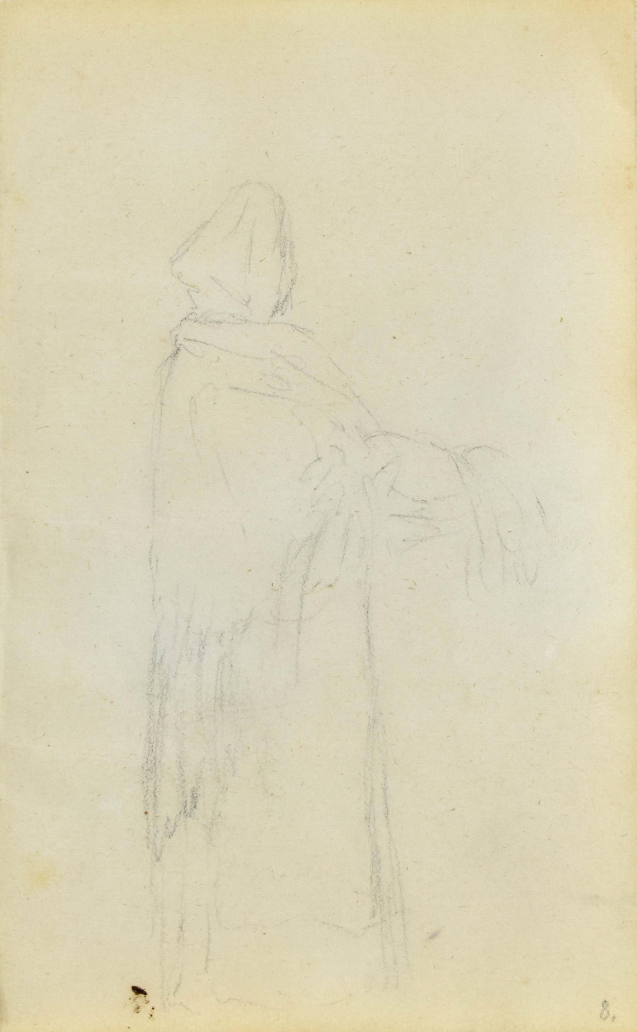 Postać stojącej kobiety w wiejskiej chuście ukazana z prawego boku
