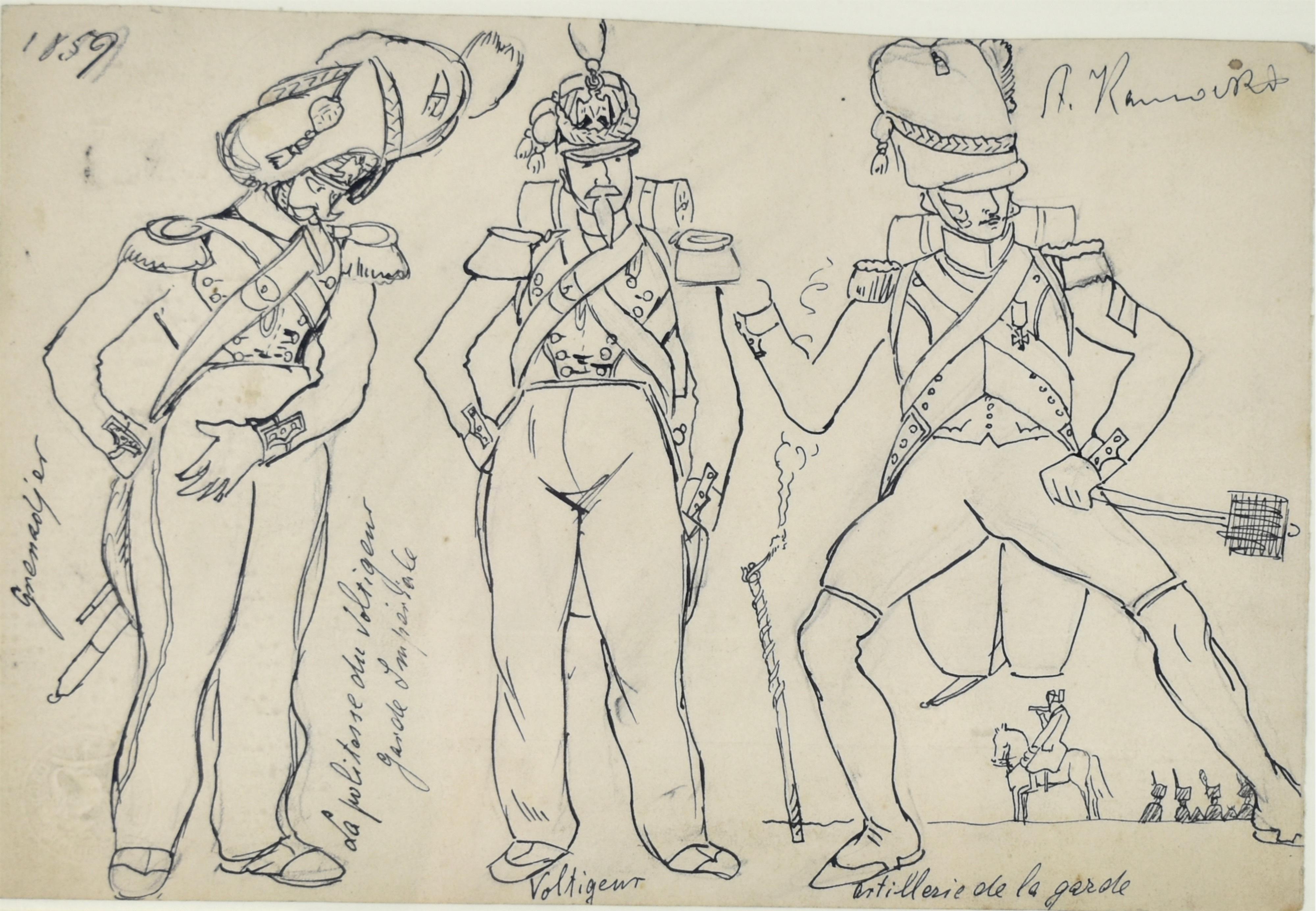 Żołnierze armii francuskiej szkice, ok. 1894