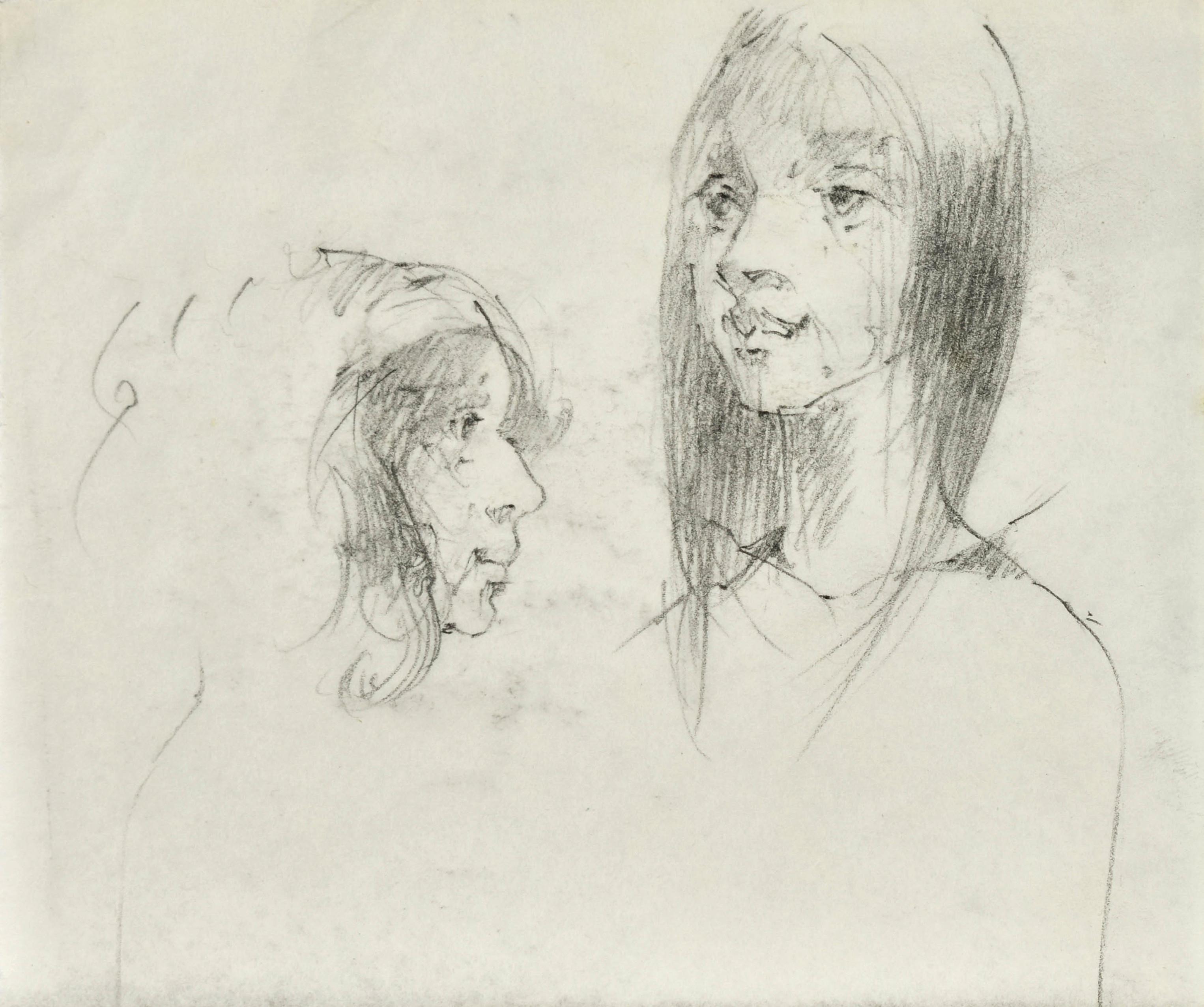 Szkice twarzy młodej kobiety w dwóch ujęciach