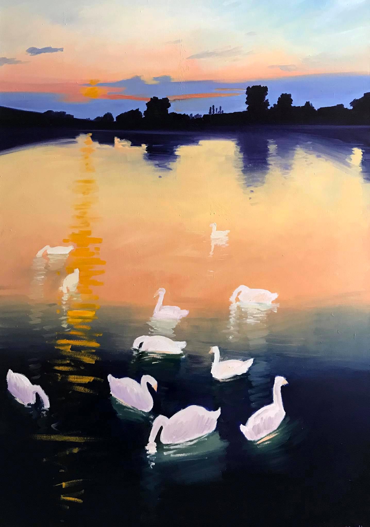 Łabędzie na jeziorze, 2021