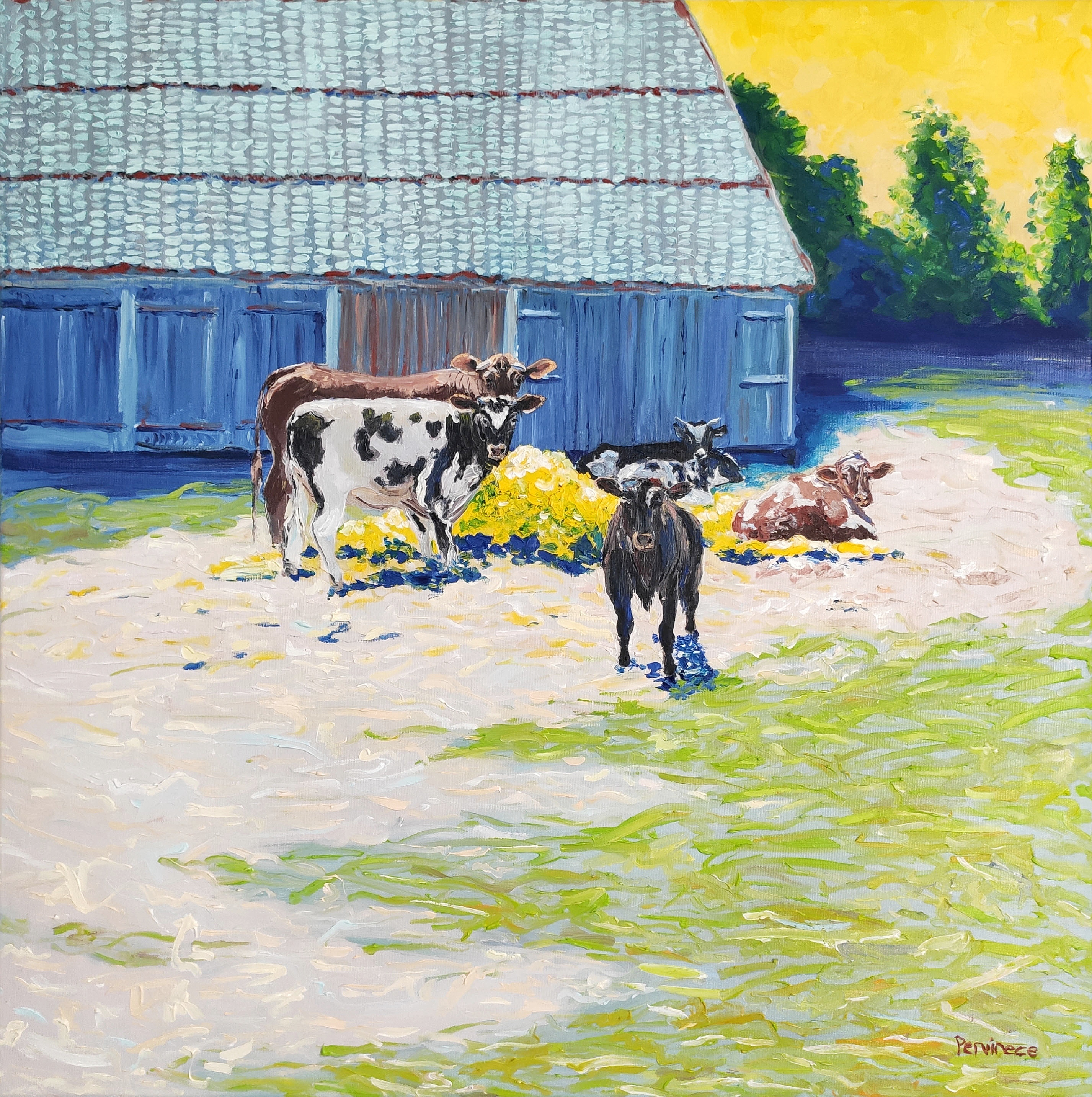 Village scene with cows, 2021