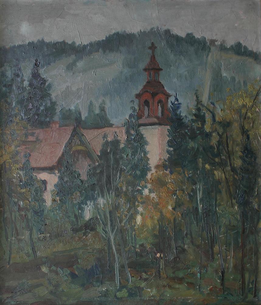 Pejzaż z wieżą kościoła (1950)