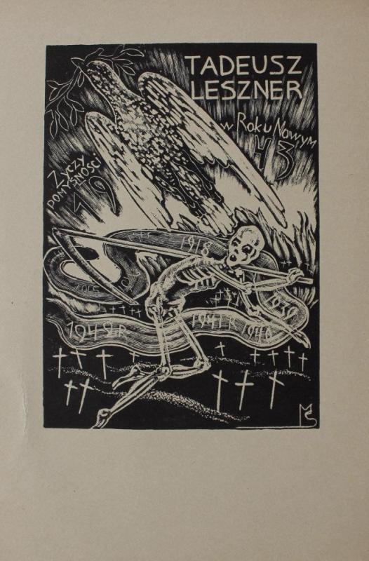 Karta z życzeniami noworocznymi (Tadeusz Leszner Życzy pomyślności w Roku Nowym 1943)