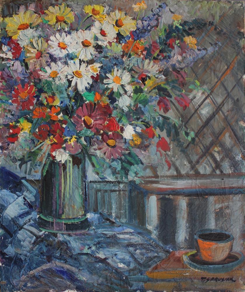 Martwa natura z polnymi kwiatami w wazonie
