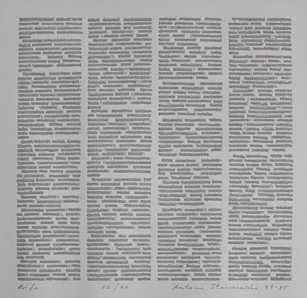 """tr/e (z teki """"Styl i warsztat. Teka 10 łódzkich artystów grafików"""", 1977-1985)"""