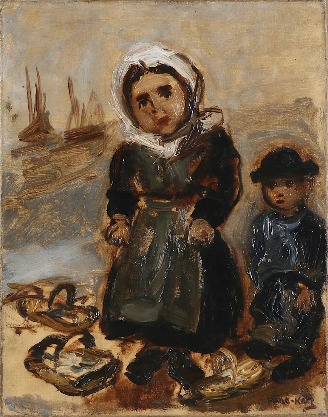 Na brzegu - portret żony i dziecka artysty