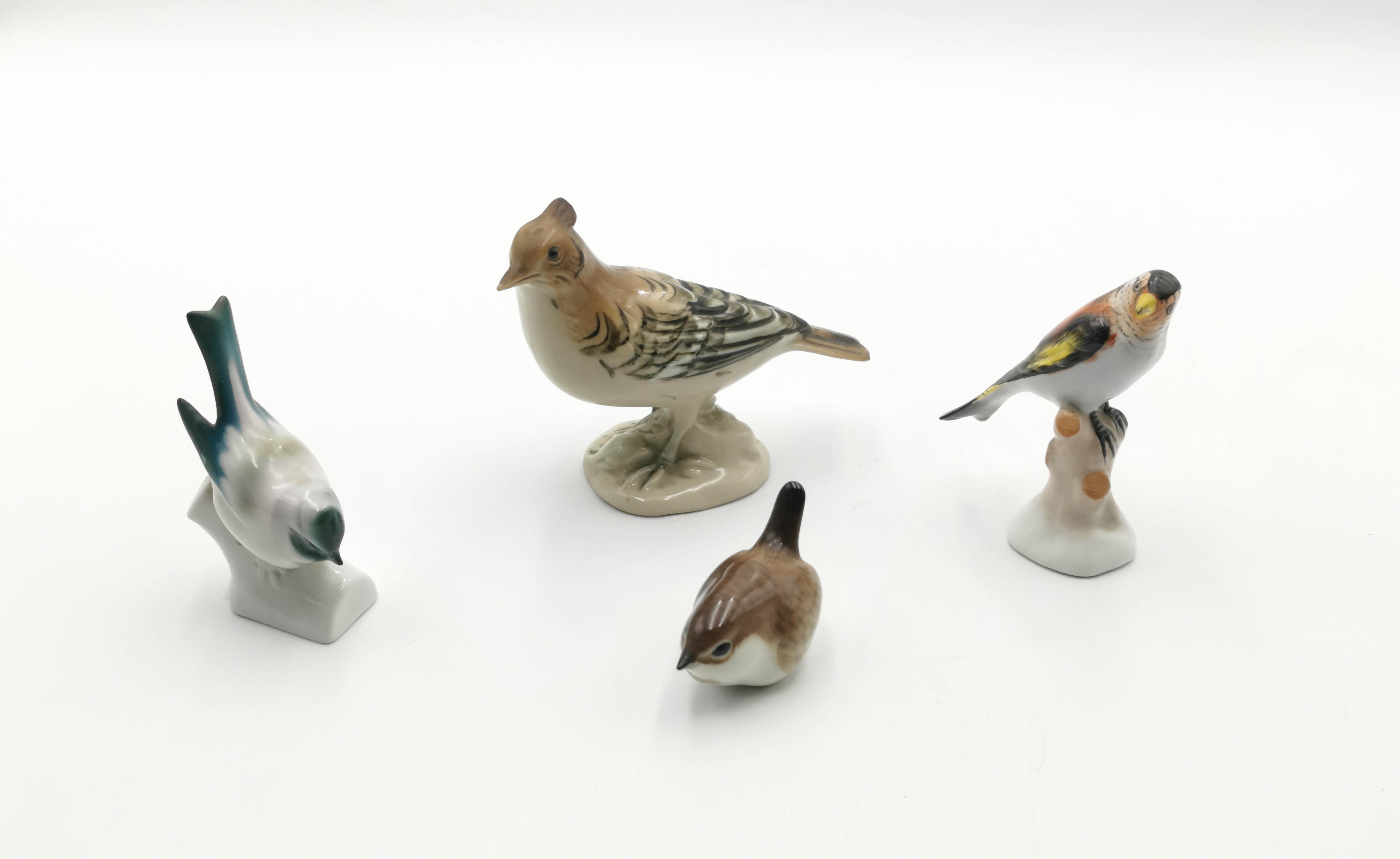 Ptaszki porcelanowe,4 sztuki