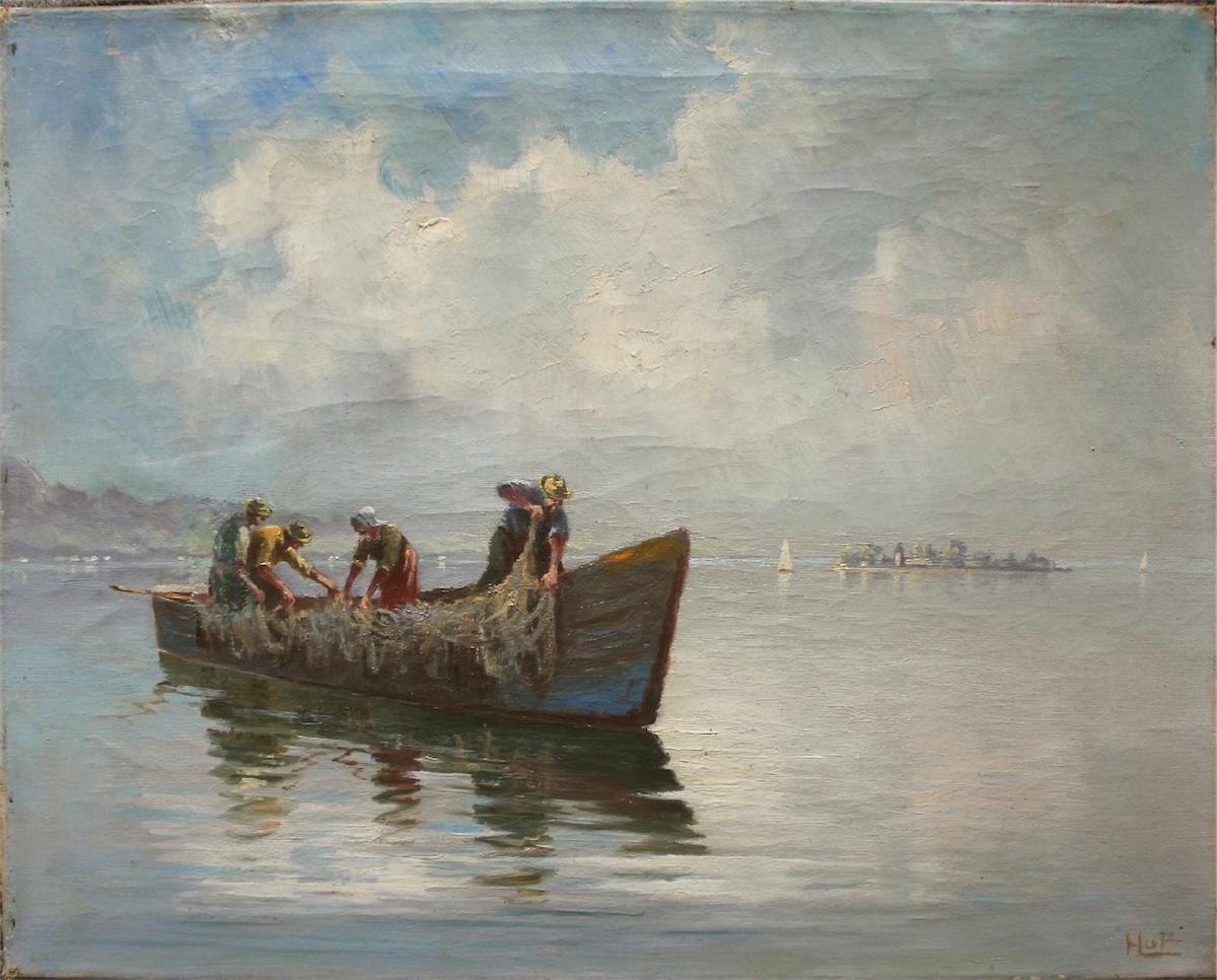 Rybacy wyciągający sieć
