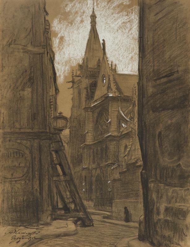 Widok na katedrę Saint Severin w Paryżu, 1912 r.