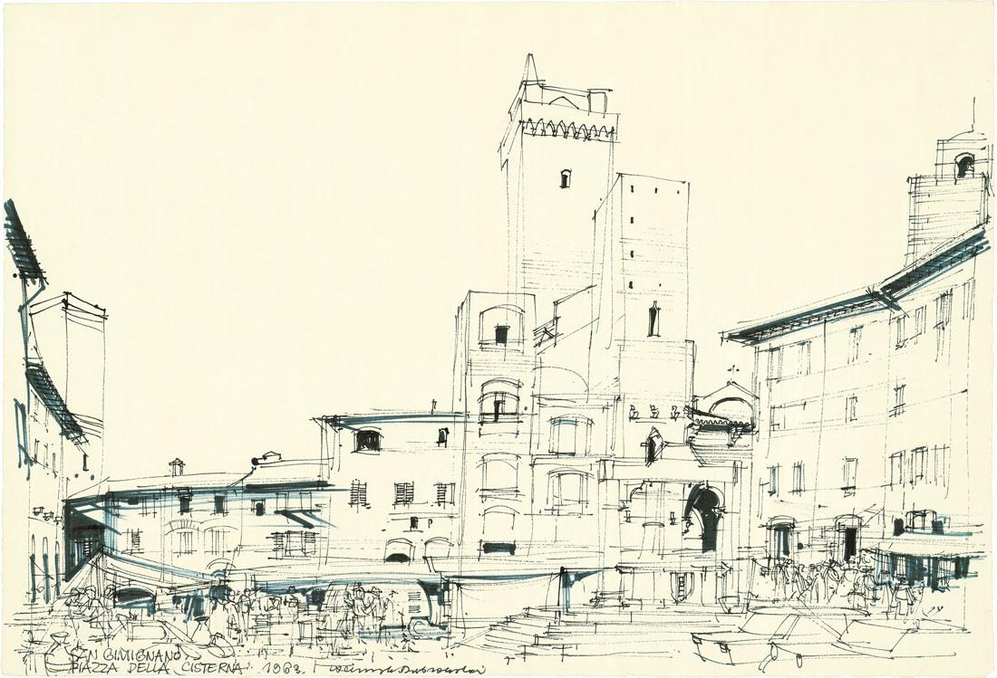 San Gimignano - Piazza della Cisterna, 1963