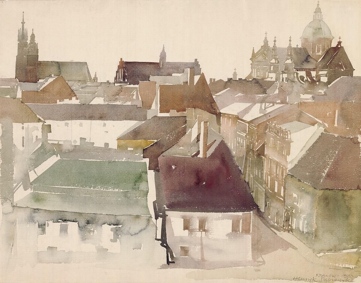 Kraków - ul. Kanonicza, widok z Wawelu, 1960