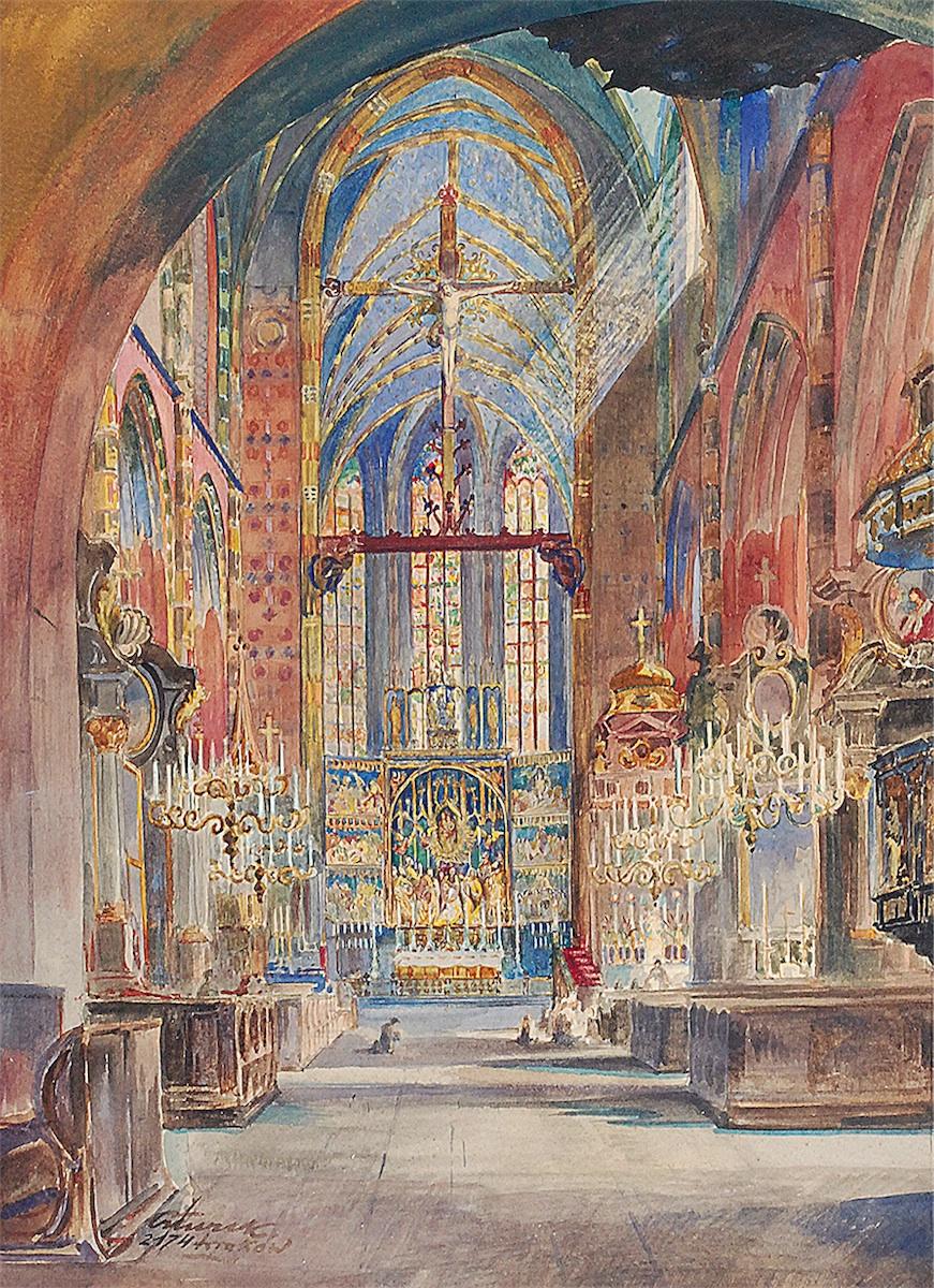 Wnętrze Kościoła Mariackiego w Krakowie, 1921