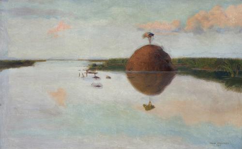 ZACHÓD SŁOŃCA NA BŁOTACH, 1900
