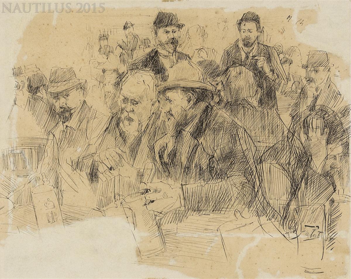 W piwiarni [praca dwustronna], 1894