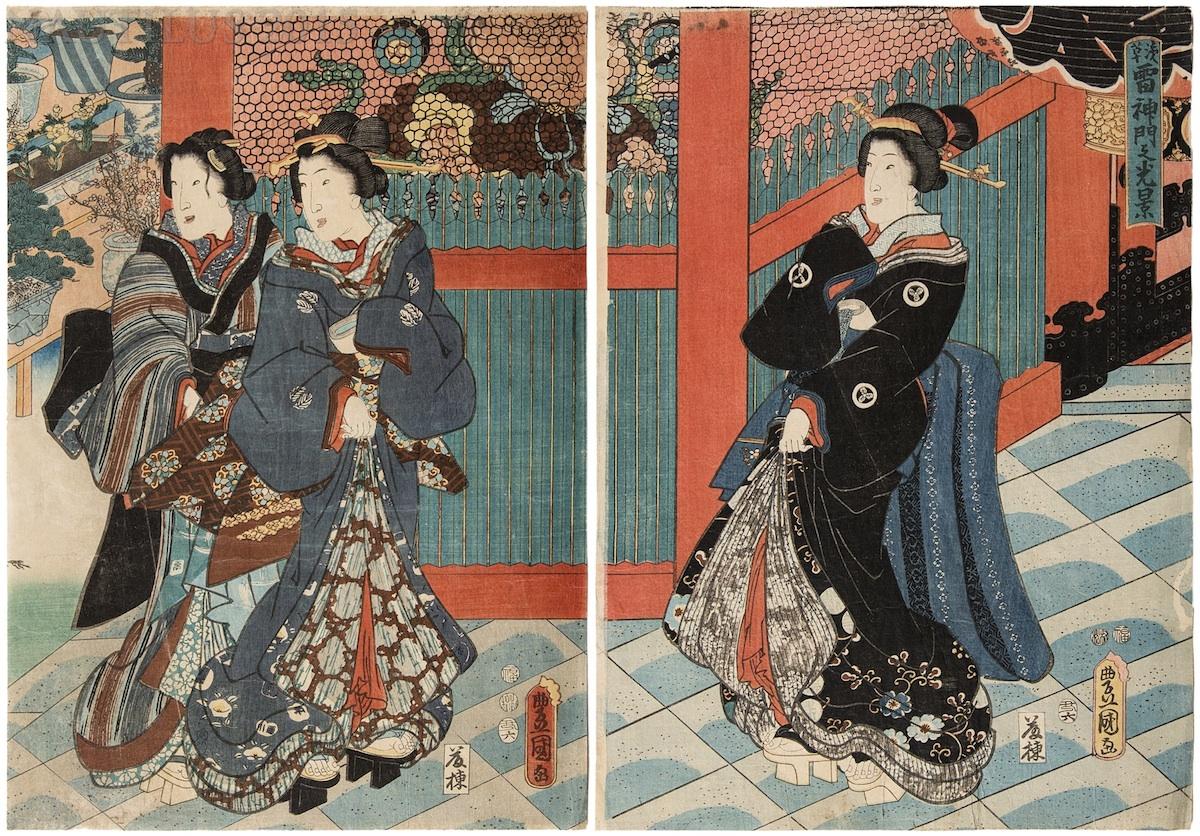 Przy bramie świątyni Boga Burzy w Asakusa, 1853